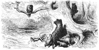 Орел, Дикая Свинья и Кошка (Г. Доре)