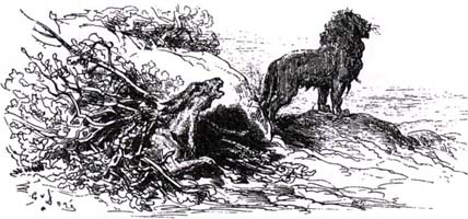 Лев и Осел на охоте (Г. Доре)