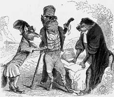 Волк и Лисица на суде перед Обезьяной (Гранвиль)