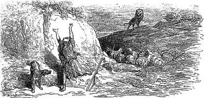 Пастух и Лев (Г. Доре)