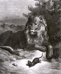 Лев и Мышь (Г. Доре)