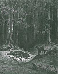 Волк и Охотник (Г. Доре)