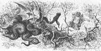 Стоглавый и стохвостый Драконы (Г. Доре)