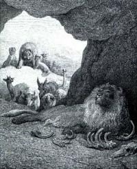 Больной Лев и Лисица (Г. Доре)