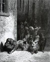 Собака с хозяйским обедом (Г. Доре)