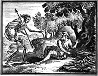 Смерть и Несчастный (гравюра XVII в.)