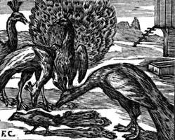 Ворона в павлиньих перьях (Ф. Шово)