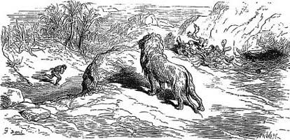 Лев и Охотник (Г. Доре)