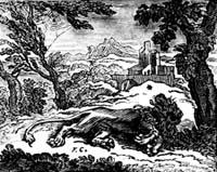 Лев и Комар (Ф. Шово)