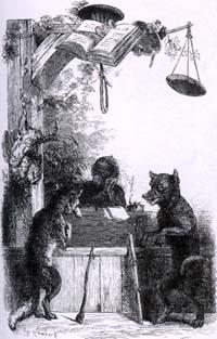 Волк и Лисица на суде перед Обезьяной
