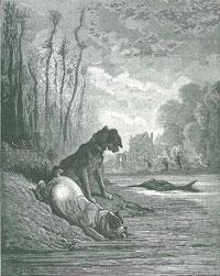 Собаки и ослиная Туша (Г. Доре)